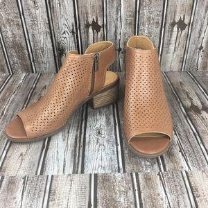 Lucky Brand Brown Peep Toe Booties
